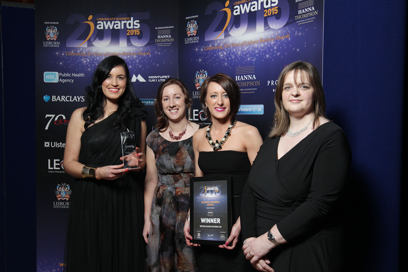 Hanna Thompson Partner Susan Dunlop (far right) with representatives from Decora Blind Systems Ltd, winners of Best Business Growth Award.