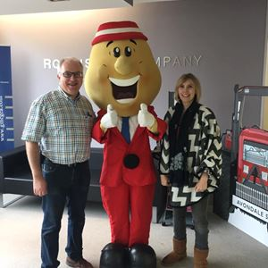 Portadown Chamber of Commerce President Adrian Farrell visits the office and meets Mr Tayto.jpg (1)