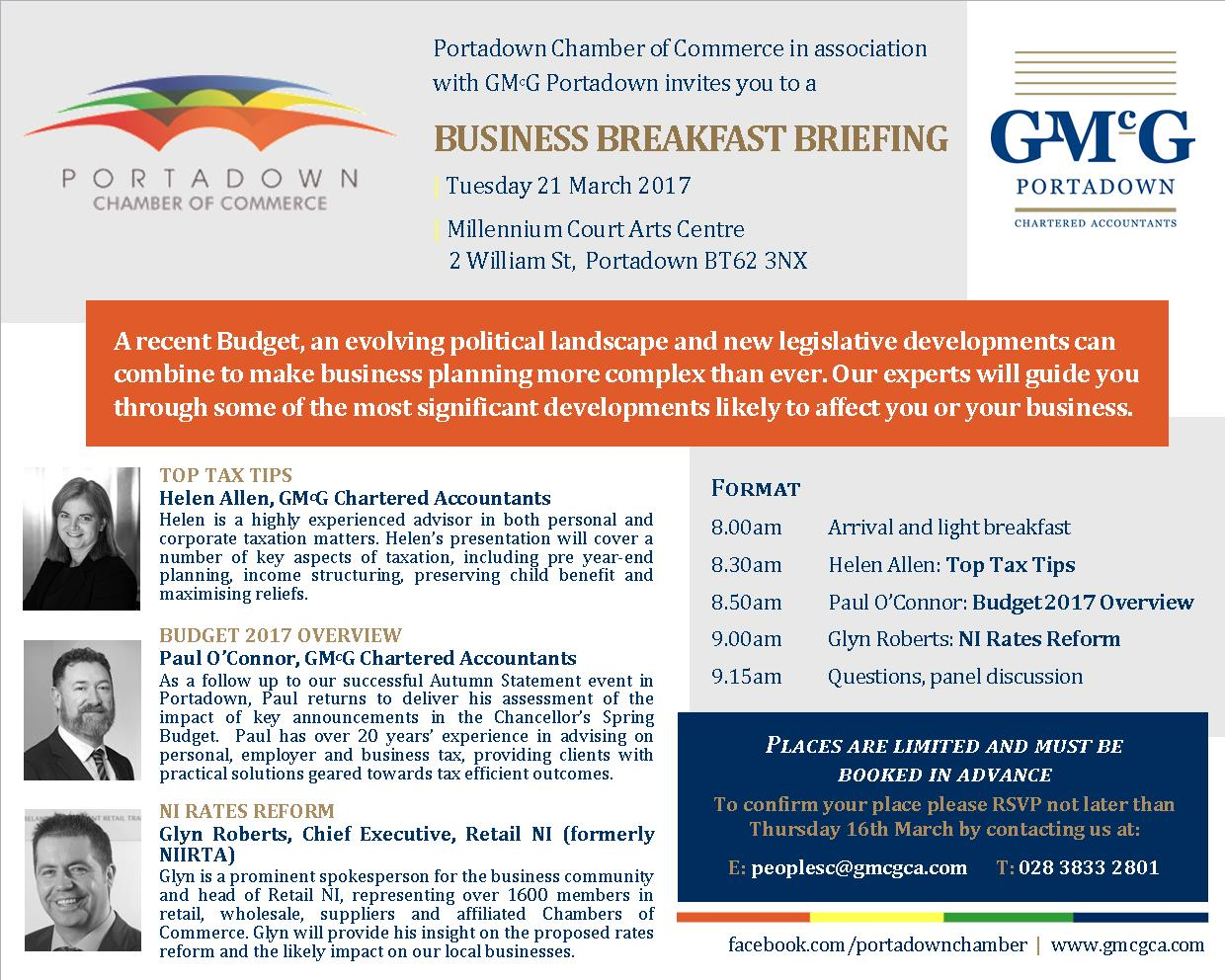 Business Breakfast Briefing Portadown, 21 March 2017