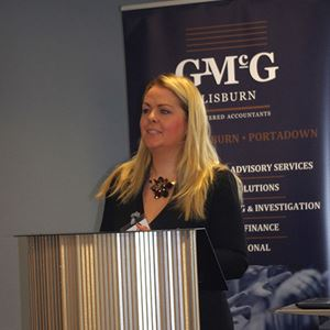GMcG Lisburn Business Briefing - Colleen McAreavey (LEO) addresses attendees.jpg