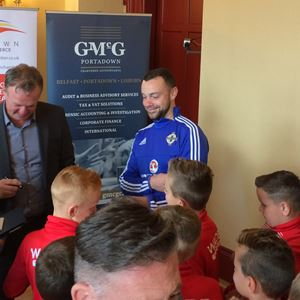 Michael O'Neill signs autographs for Portadown FC Youth team.jpg