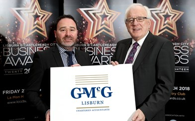 Alderman Allan Ewart MBE with Stephen Houston from GMcG Chartered Accountants category sponsor of the Business Person of the Year Award.jpg